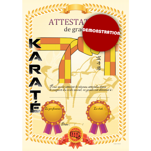 Attestation ceinture jaune orange
