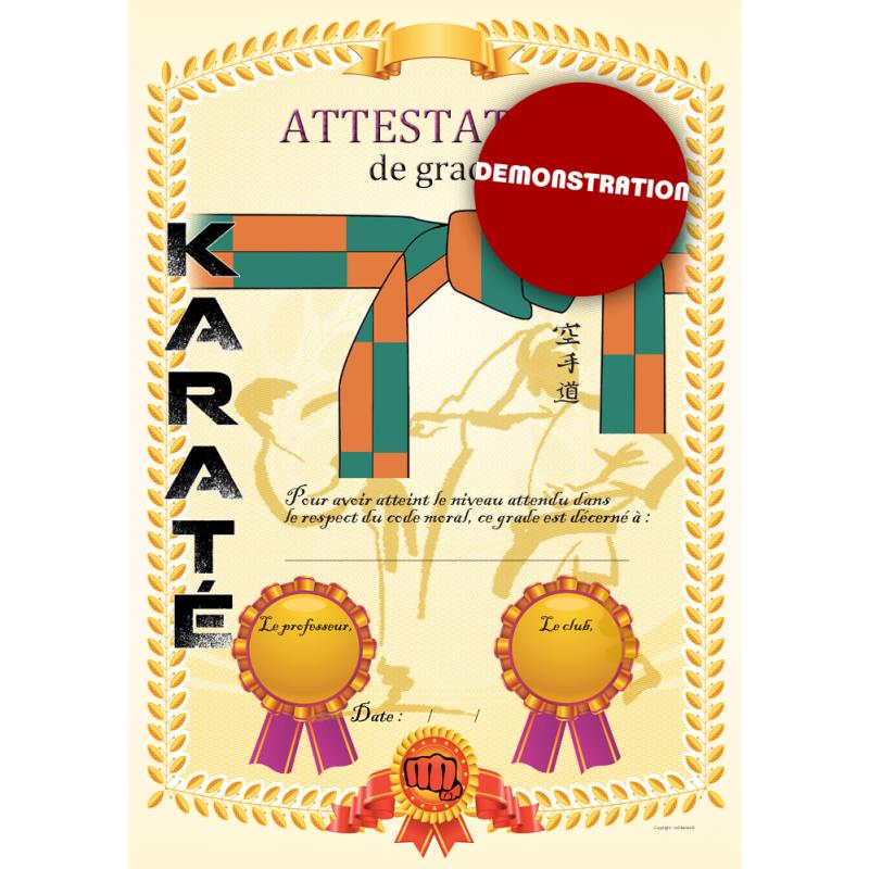 Certificato cintura arancio verde