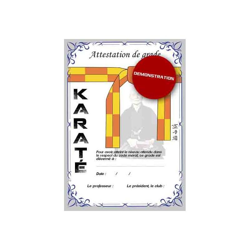 Certificación de cinturón amarillo naranja