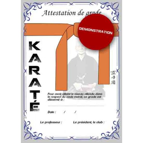 Attestation ceinture orange