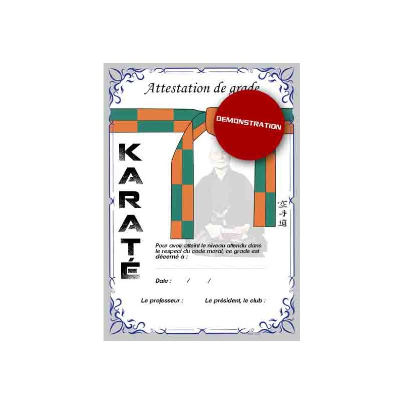 Certificate orange belt green