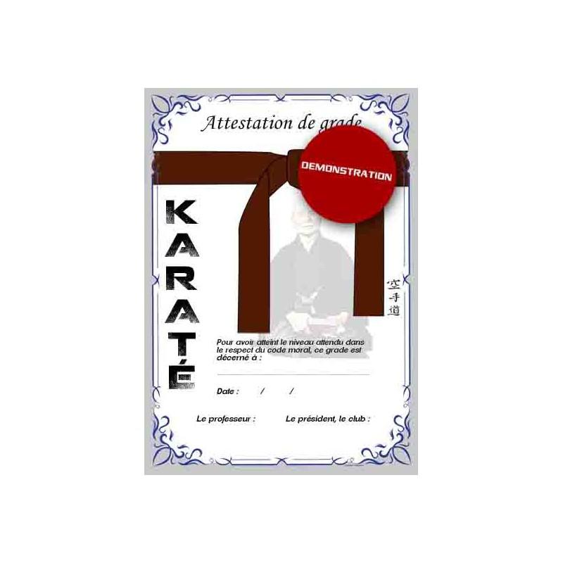 Attestation ceinture marron